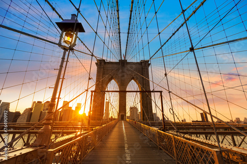 Poster Brooklyn Bridge Brooklyn Bridge sunset New York Manhattan