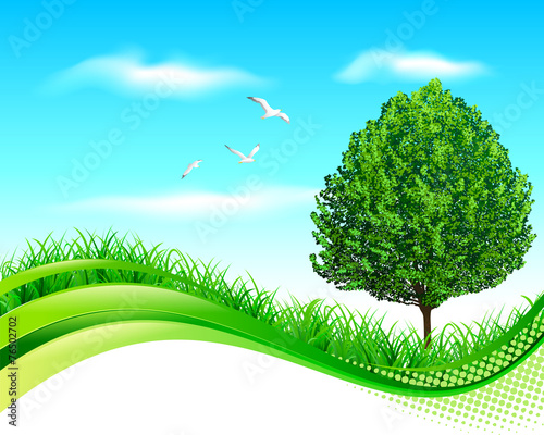 Fotobehang Lichtblauw Green landscape banner
