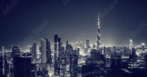 Beautiful Dubai city at night Canvas Print