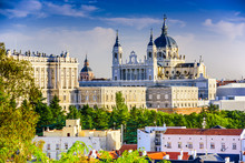 Royal Palace And Cathedral Of Madrid, Spain
