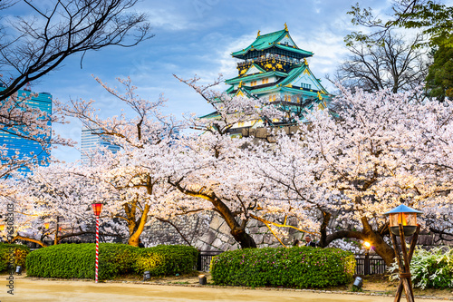 Osaka, Japan at Osaka Castle during the spring season. Poster