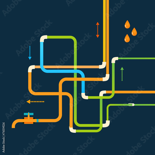 Poster de jardin Route Vector color abstract design tangled pipes eps