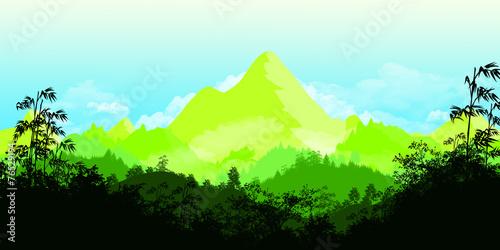 Spoed Foto op Canvas Lichtblauw Flat landscape