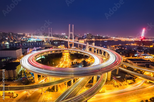 shanghai nanpu bridge at night Poster
