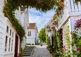 Ulica w starej części Stavanger w Norwegii