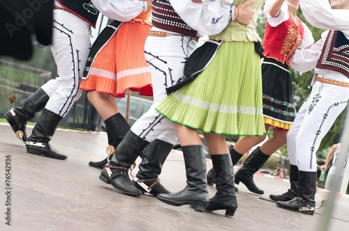 Fotografia Fragment of Slovak folk dance with colorful clothes