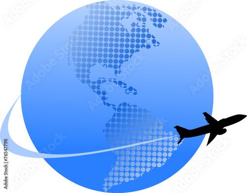 Fototapeta niebieska kula ziemska i samolot obraz