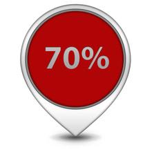 Seventy Percent Pointer Icon On White Background