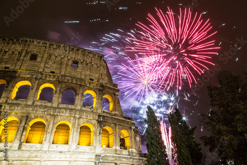 Foto op Aluminium Rome Fireworks for new year near the Colosseum - Rome