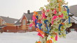 Tree with ribbons on holiday in Russia