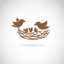 Vector Image Of An Birds Famil...