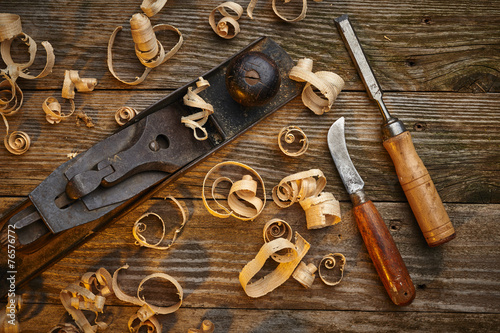 Fotografie, Obraz  old tools on a work bench