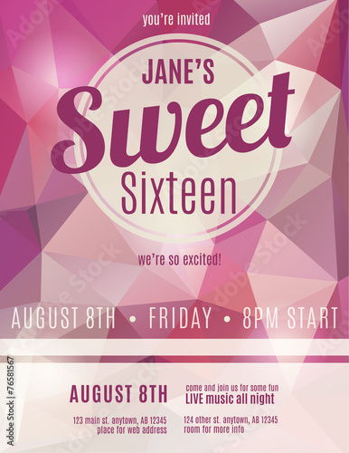 sweet sixteen party invitation flyer template design buy this