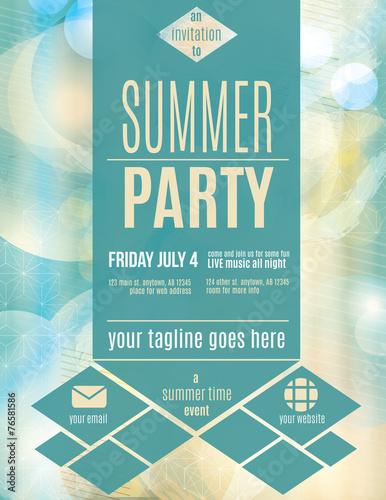 Fotografie, Obraz  Modern style summer party flyer template