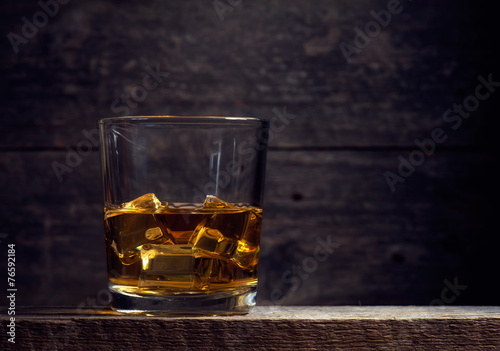 Fotografie, Obraz Whiskey Bourbon in a Glass with Ice