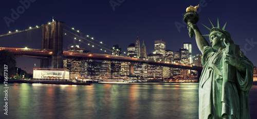 Foto op Aluminium New York New York Skyline at night with Statue of Liberty