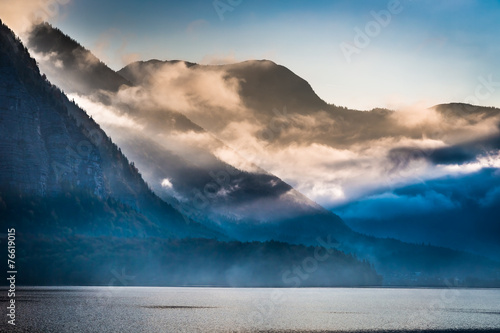 Fogged mountains in the morning - 76619015