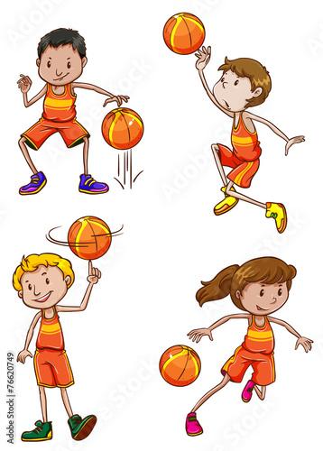 Papiers peints Chambre bébé Young basketball players