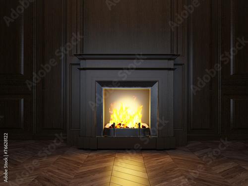 Foto op Plexiglas Wand 3d fireplace in the room