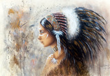 beautiful airbrush painting of a young indian woman wearing a bi