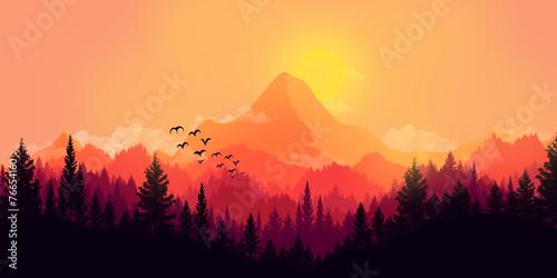 Fototapeta Flat landscape obraz