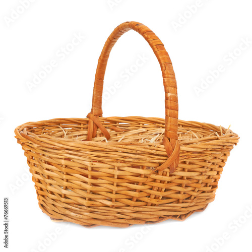 Fotografie, Obraz  Empty wicker basket. Isolated on white