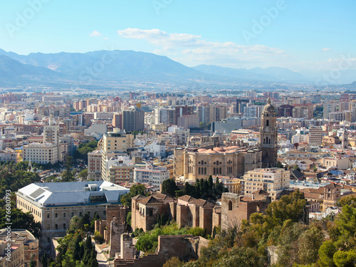 Photo sur Aluminium Seoul View on the center and cathedral of Malaga, Andalusia, Spain