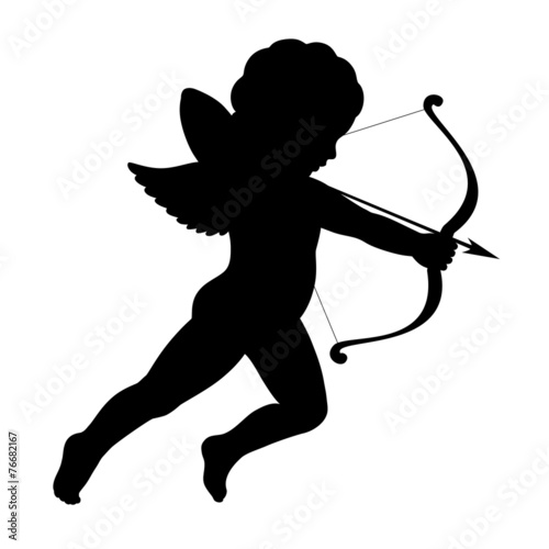 Photographie black vector silhouette of a cupid shooting arrow