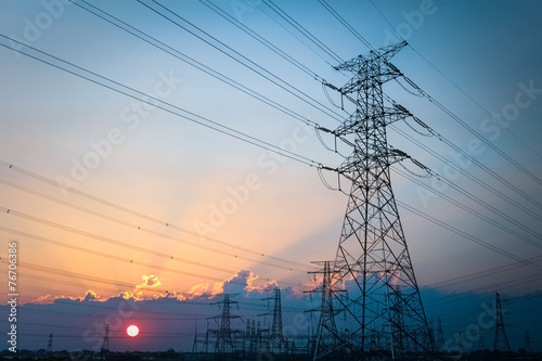 Photo  electric transmission tower
