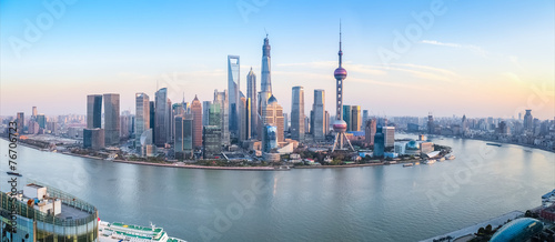 shanghai skyline panoramic view Canvas Print
