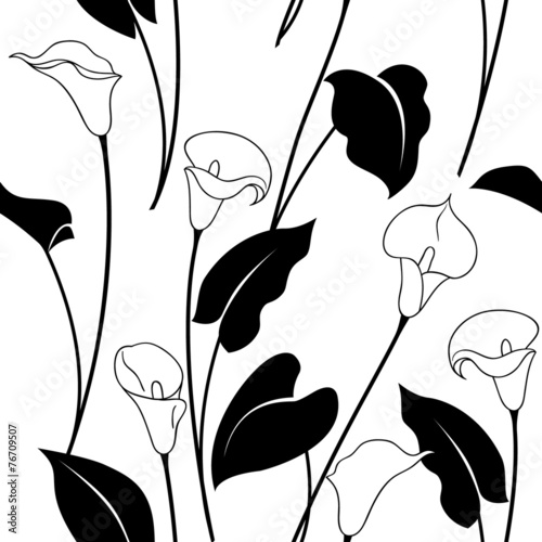 Canvas Print Black and white calla lily pattern