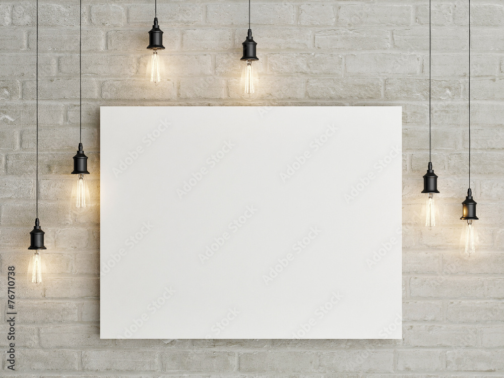 Fototapeta Mock up poster with ceiling lamps, 3d illustraton