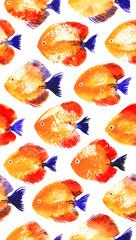 Fototapeta Rafa koralowa Vector seamless pattern with watercolor discus fish