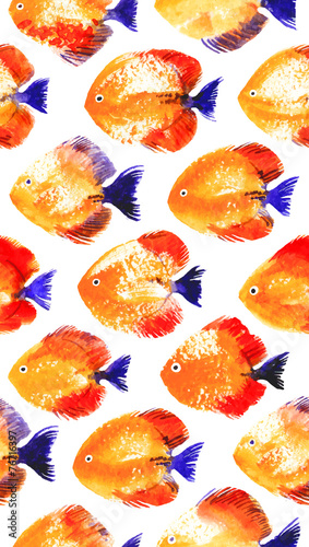 Vector seamless pattern with watercolor discus fish - 76716397