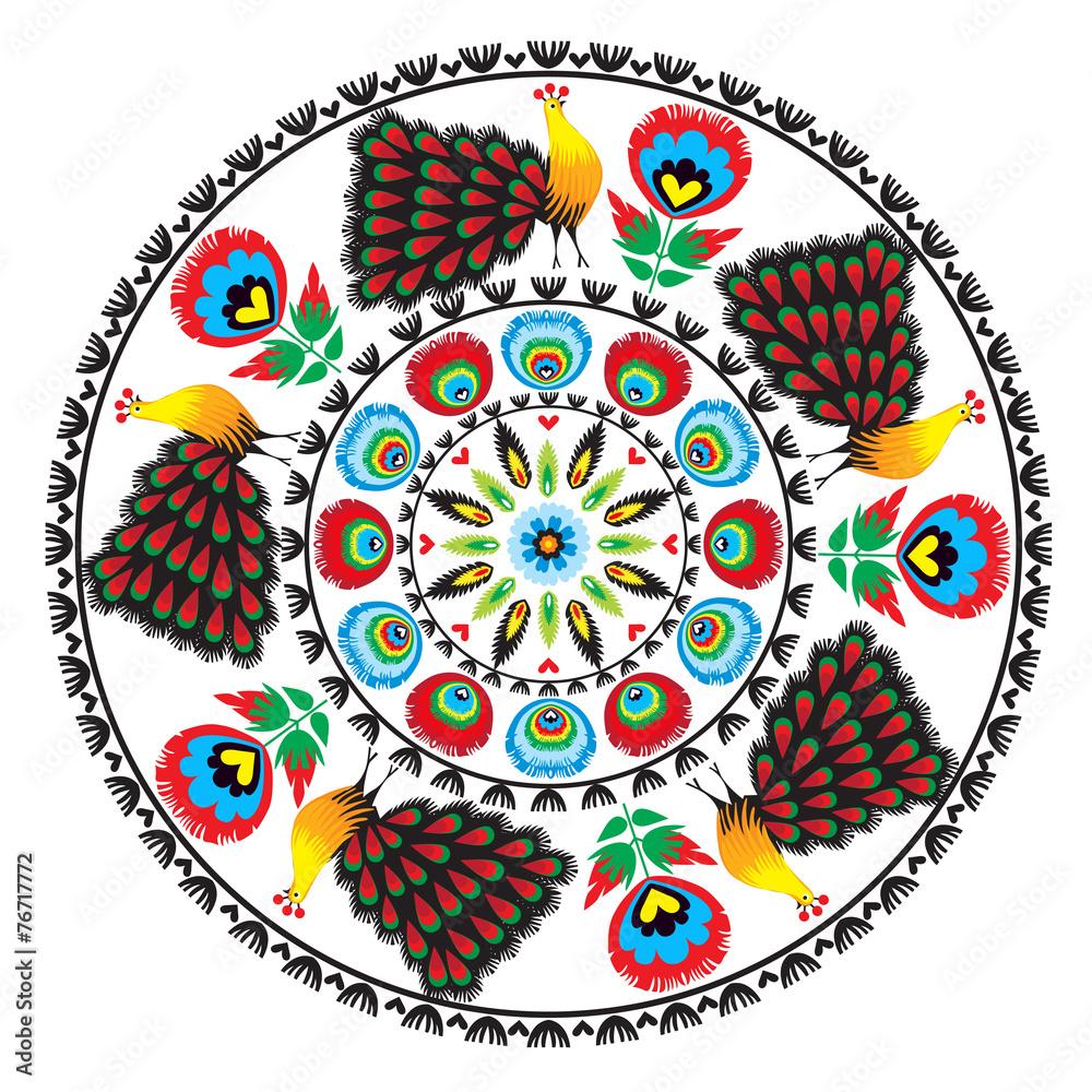 Fototapeta wzór ludowy z kwiatami i pawiem, łowicki