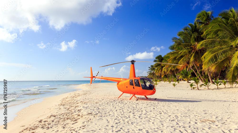 Leinwandbild Motiv - Maciej Czekajewski : Helicopter on caribbean beach