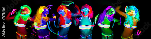 Canvas Prints Carnaval sexy neon uv glow dancer