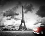 Fototapeta Fototapety z wieżą Eiffla - Effel Tower, Paris, France and retro red car. Black and white