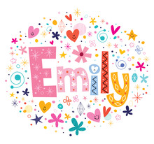Emily Female Name Decorative Lettering Type Design