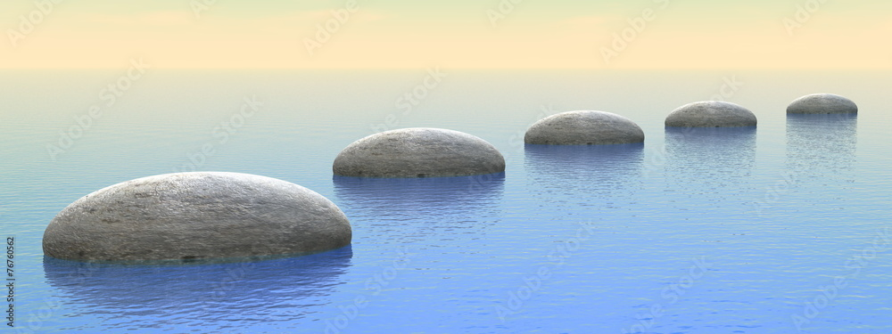 Fototapeta Steps on the ocean - 3D render