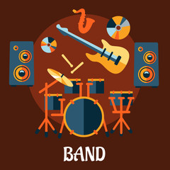 Fototapeta Flat musical band instruments concept