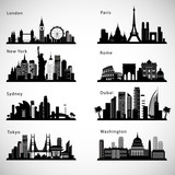 Fototapeta Londyn - City skyline set. Vector silhouettes