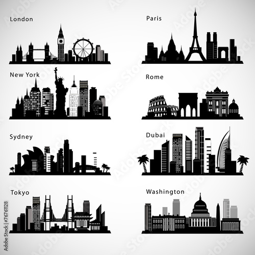 City skyline set. Vector silhouettes Poster