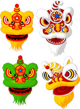 Cartoon Chinese Lion Head Coll...