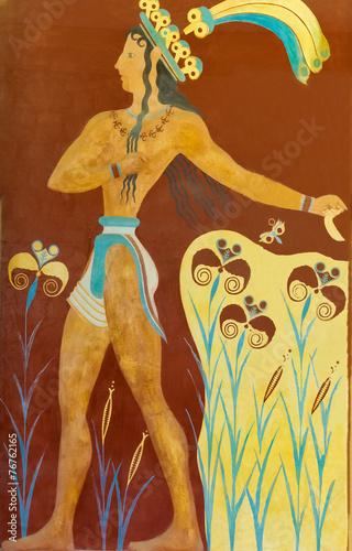 Fotografie, Obraz  Aged fresco of warrior in Knossos