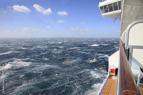 Fotografie, Obraz  Rough Seas from a ships balcony
