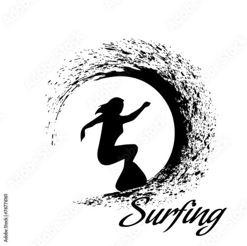 Fototapety, obrazy: silhouettes of surfers