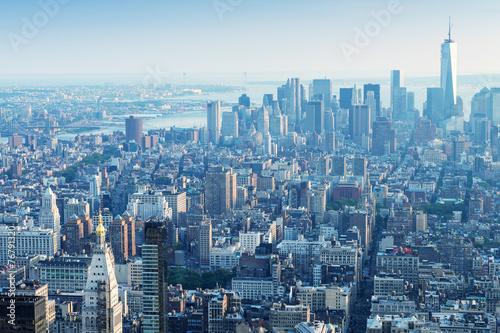 Keuken foto achterwand New York New York. Manhattan aerial skyline at dusk