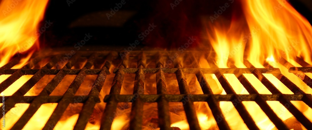 Fototapety, obrazy: BBQ or Barbecue or Barbeque or Bar-B-Q Charcoal Fire Grill