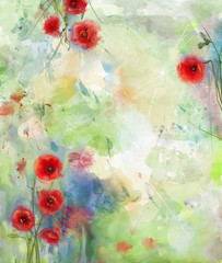 Panel SzklanyRed poppy flower with scenic watercolor background